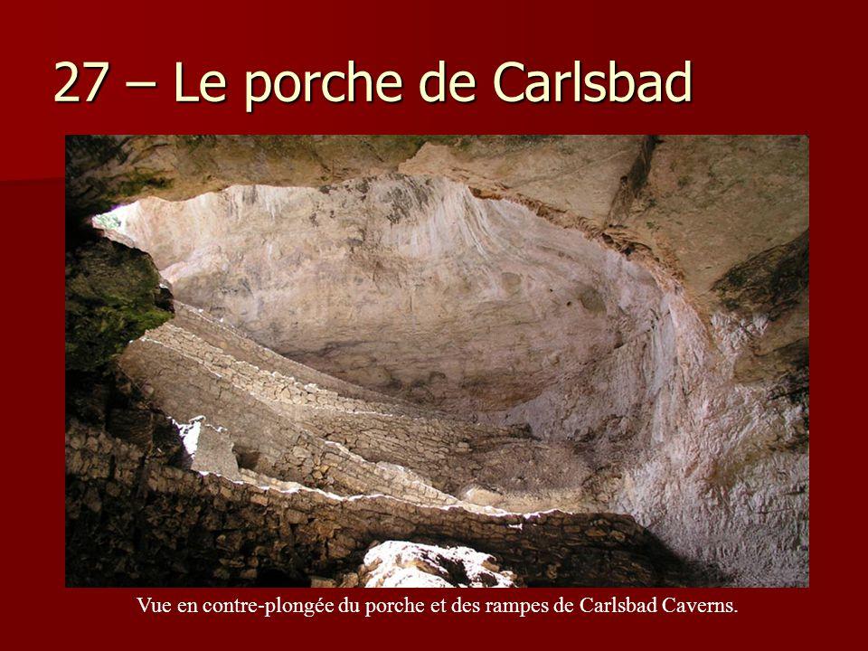 Vue en contre-plongée du porche et des rampes de Carlsbad Caverns.