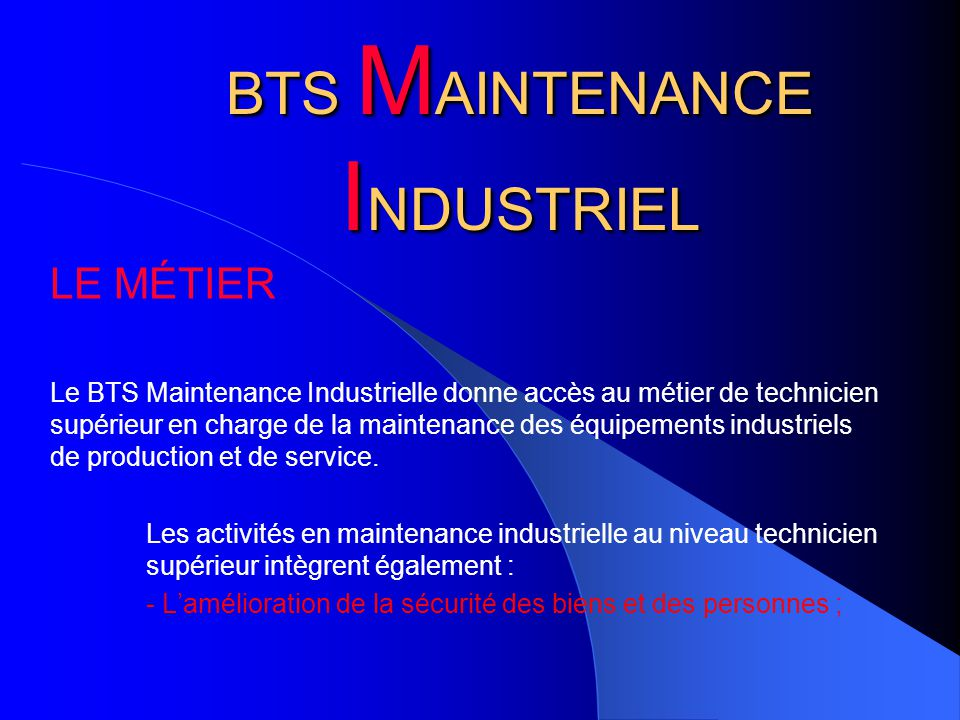 BTS MAINTENANCE INDUSTRIEL