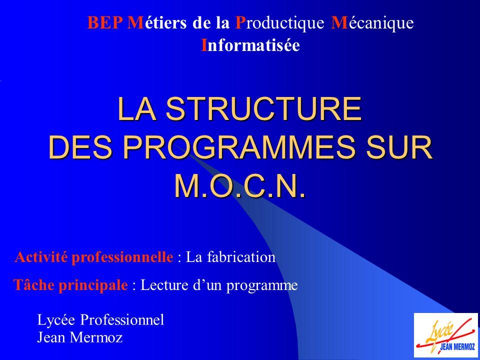 LA STRUCTURE DES PROGRAMMES SUR M.O.C.N.