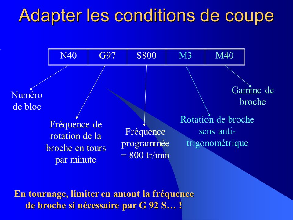 Adapter les conditions de coupe