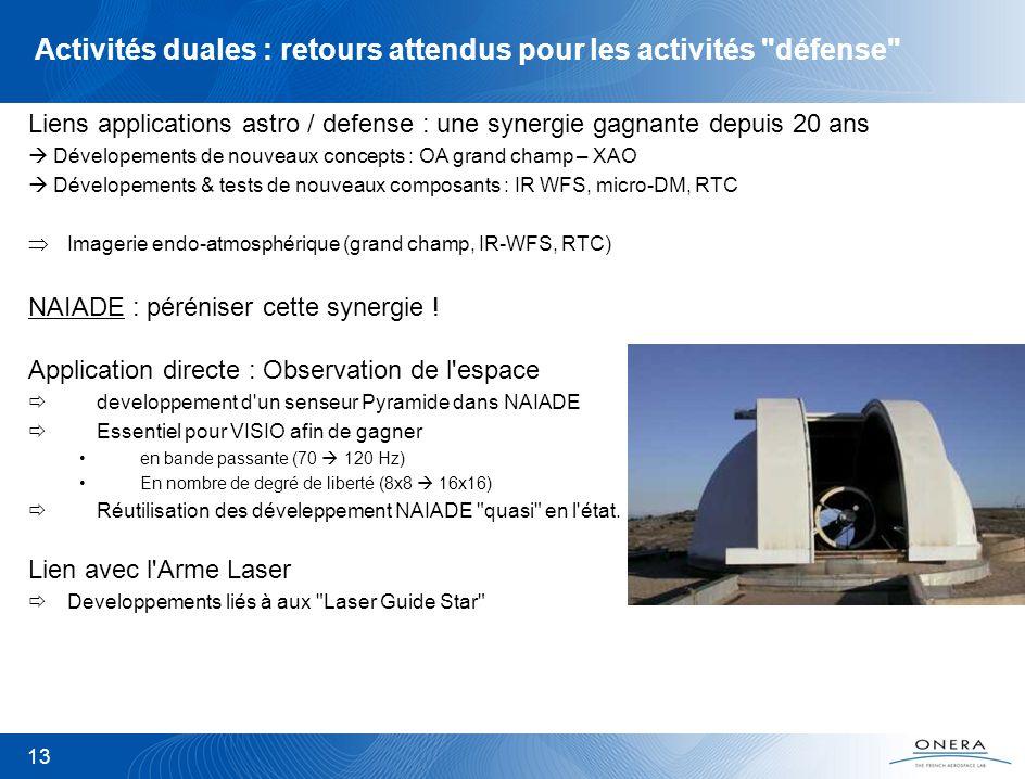 Activités duales : retours attendus pour les activités défense