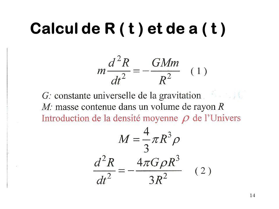 Calcul de R ( t ) et de a ( t )