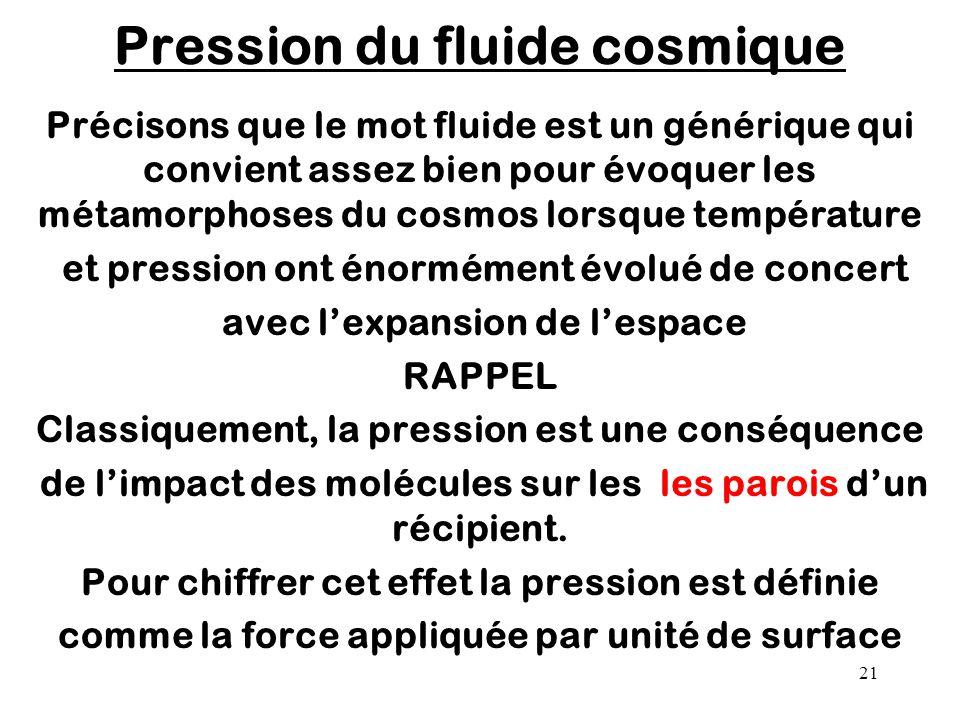 Pression du fluide cosmique