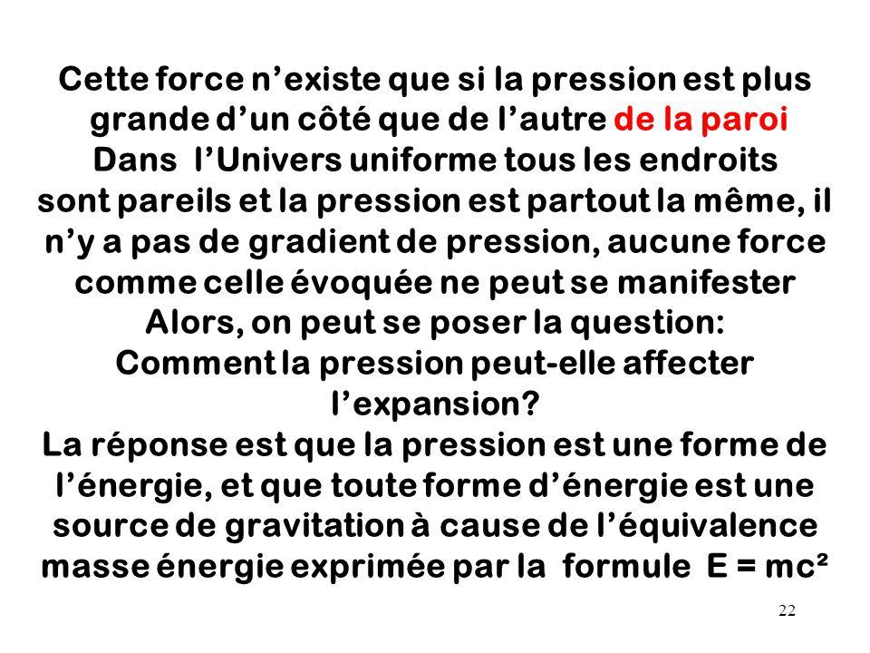 Cette force n'existe que si la pression est plus grande d'un côté que de l'autre de la paroi Dans l'Univers uniforme tous les endroits sont pareils et la pression est partout la même, il n'y a pas de gradient de pression, aucune force comme celle évoquée ne peut se manifester Alors, on peut se poser la question: Comment la pression peut-elle affecter l'expansion.