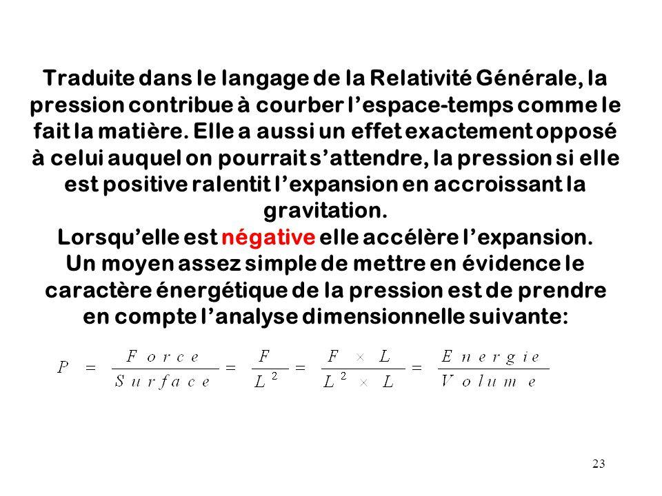 Traduite dans le langage de la Relativité Générale, la pression contribue à courber l'espace-temps comme le fait la matière.