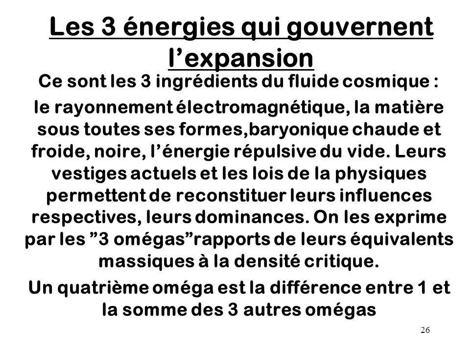 Les 3 énergies qui gouvernent l'expansion