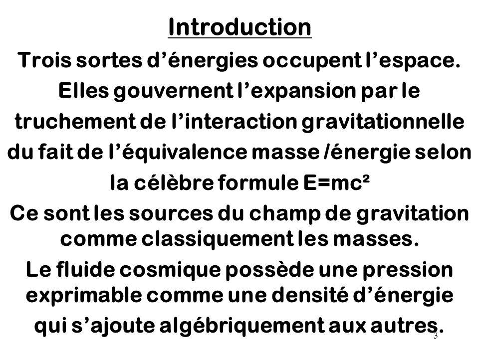 Introduction Trois sortes d'énergies occupent l'espace.