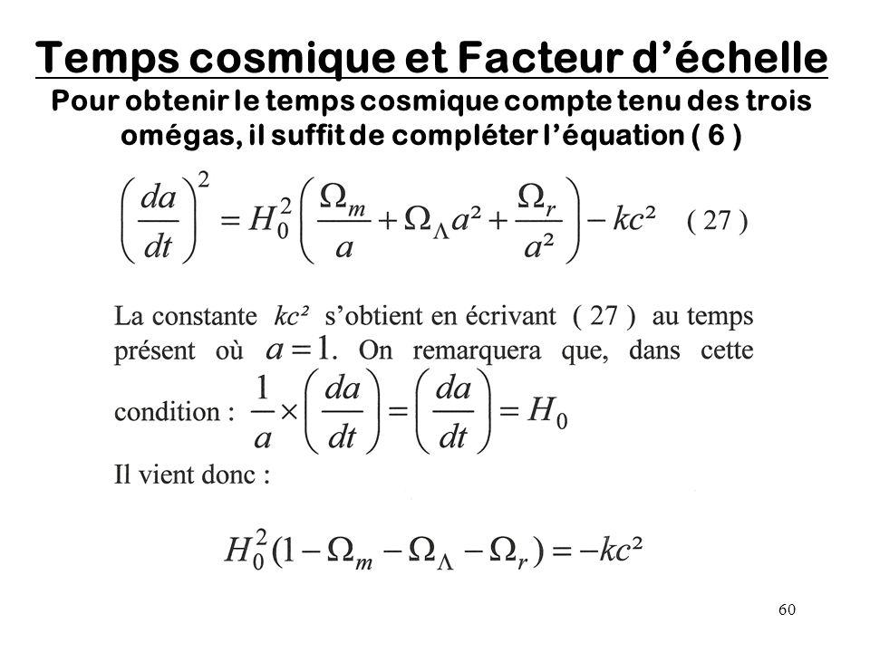 Temps cosmique et Facteur d'échelle Pour obtenir le temps cosmique compte tenu des trois omégas, il suffit de compléter l'équation ( 6 )