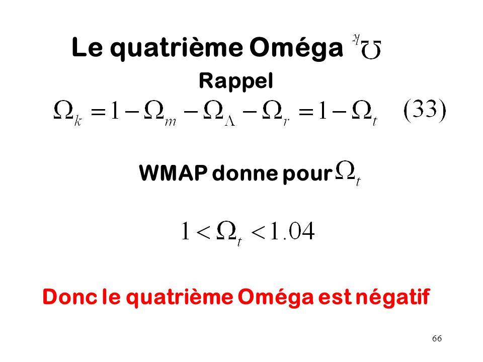 Rappel WMAP donne pour Donc le quatrième Oméga est négatif