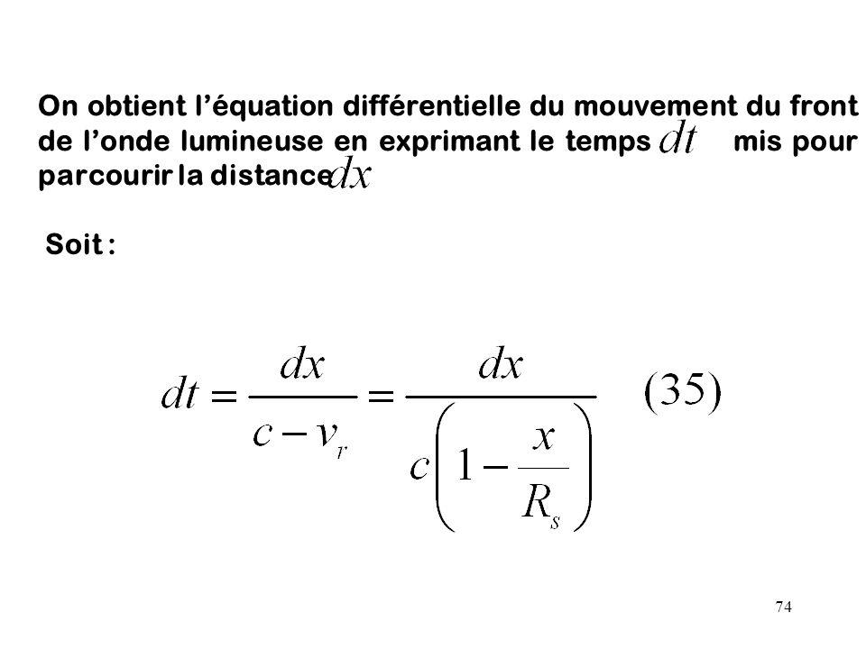 On obtient l'équation différentielle du mouvement du front de l'onde lumineuse en exprimant le temps mis pour parcourir la distance