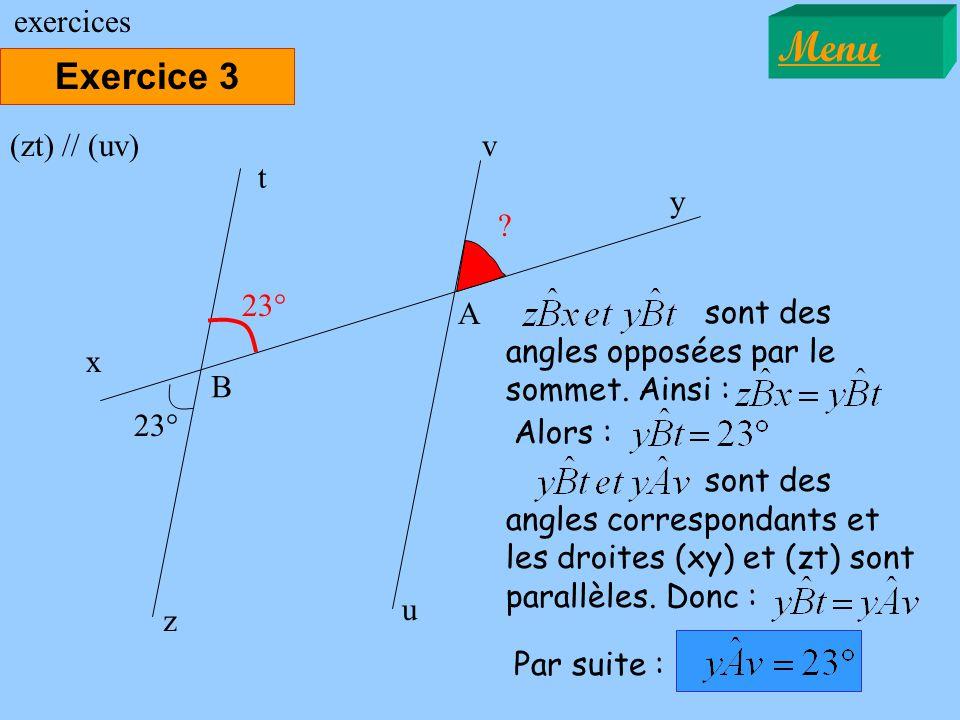 Menu Exercice 3 exercices (zt) // (uv) v t y 23° A