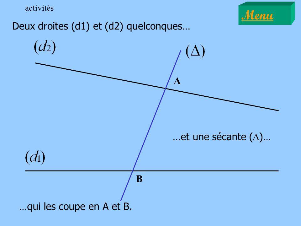 Menu Deux droites (d1) et (d2) quelconques… A …et une sécante (D)… B