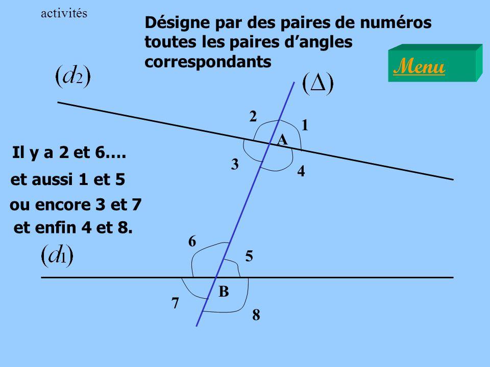 activités Désigne par des paires de numéros toutes les paires d'angles correspondants. Menu. 2. 1.