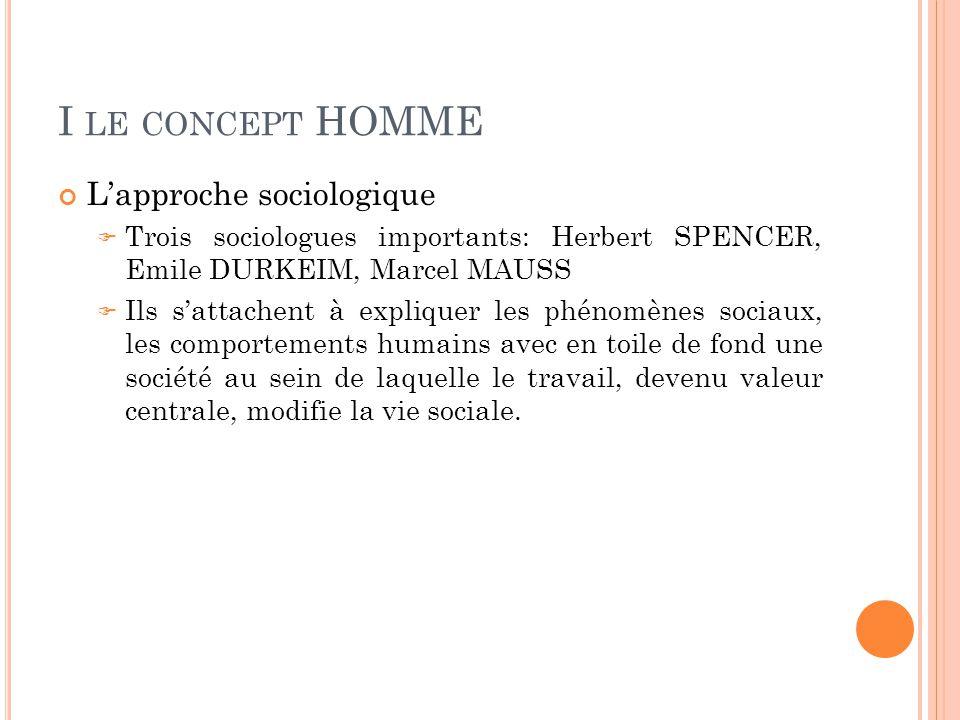 I le concept HOMME L'approche sociologique