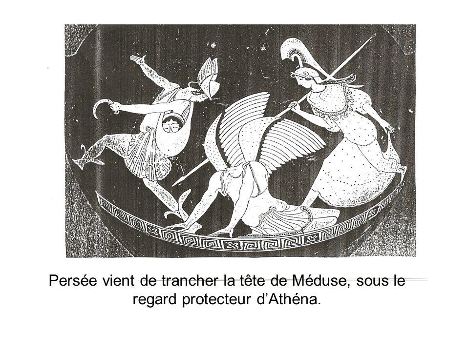 Persée vient de trancher la tête de Méduse, sous le regard protecteur d'Athéna.