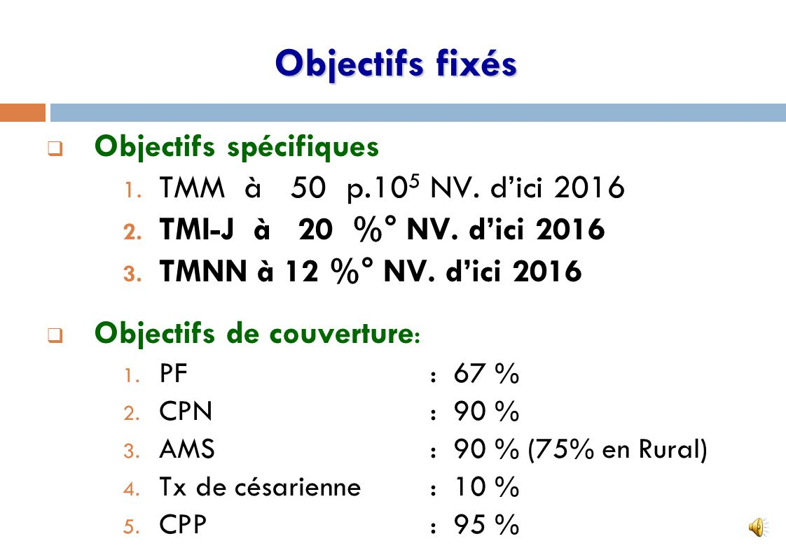 Objectifs fixés Objectifs spécifiques TMM à 50 p.105 NV. d'ici 2016