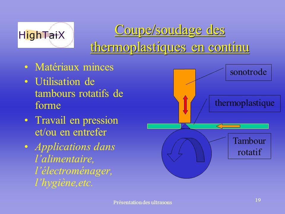 Coupe/soudage des thermoplastiques en continu
