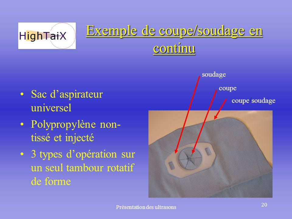 Exemple de coupe/soudage en continu