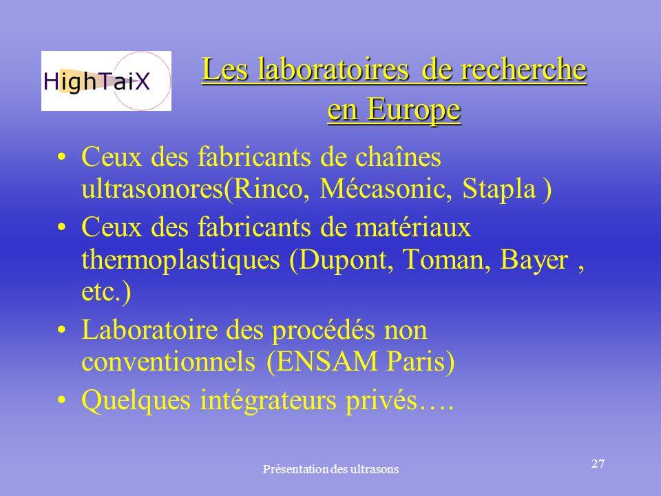 Les laboratoires de recherche en Europe