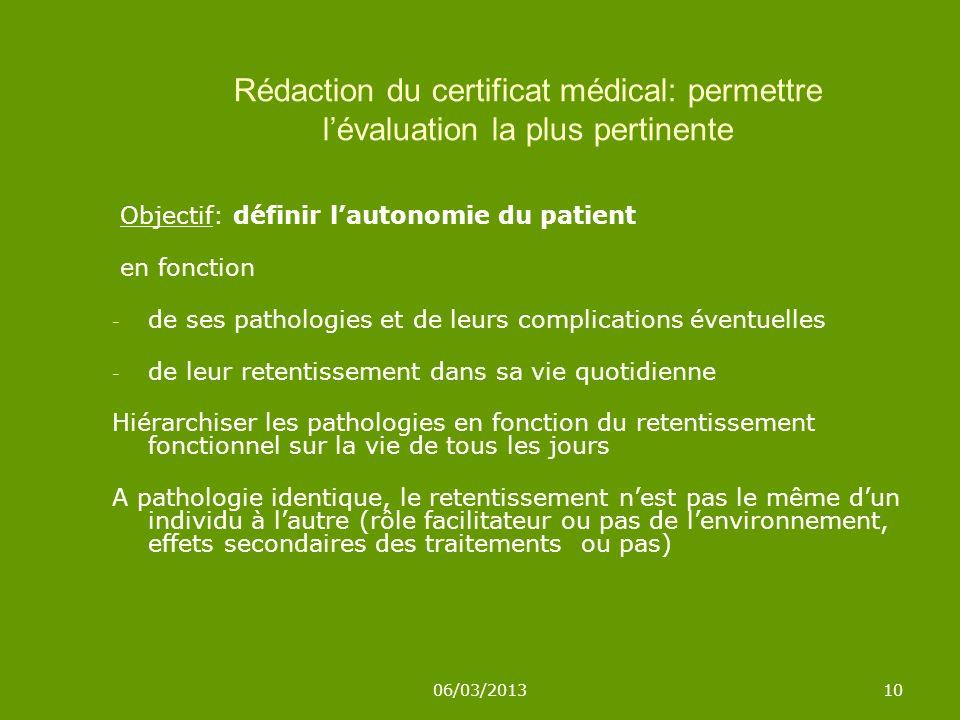 Rédaction du certificat médical: permettre l'évaluation la plus pertinente
