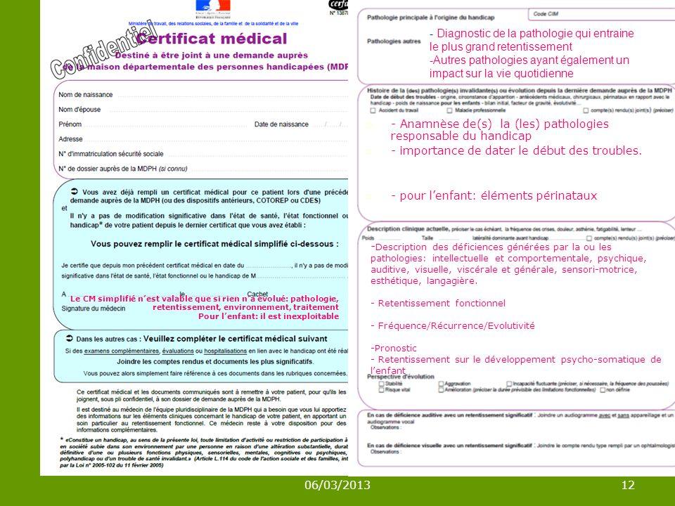 - Anamnèse de(s) la (les) pathologies responsable du handicap