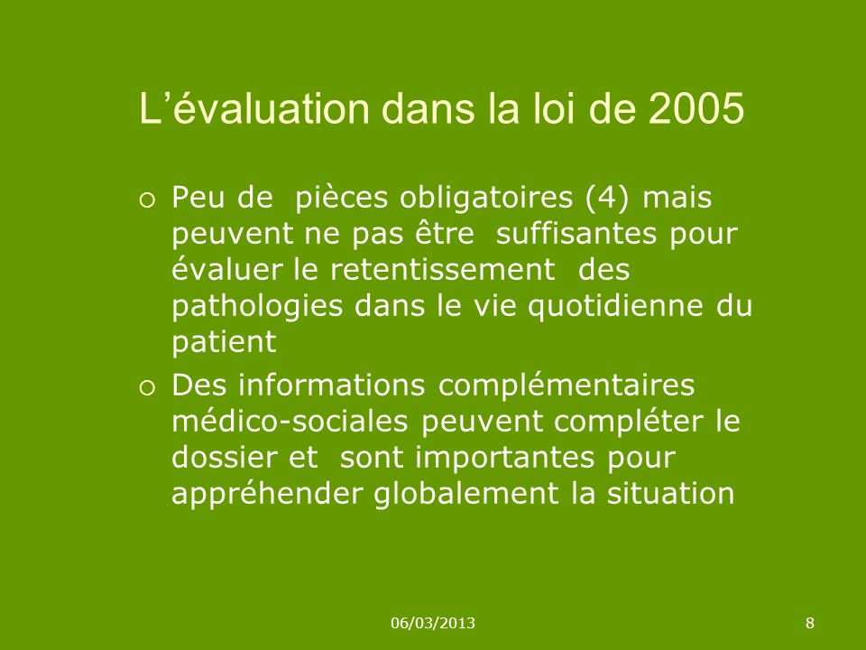 L'évaluation dans la loi de 2005