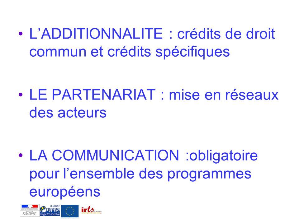 L'ADDITIONNALITE : crédits de droit commun et crédits spécifiques