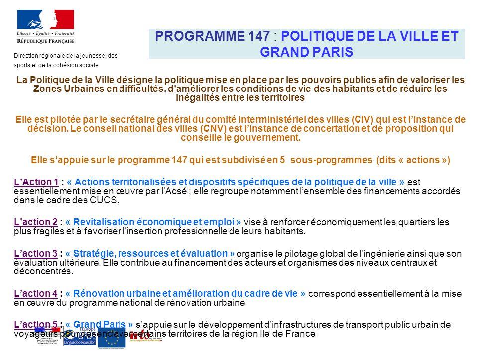 PROGRAMME 147 : POLITIQUE DE LA VILLE ET GRAND PARIS