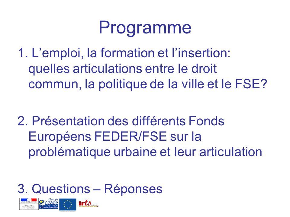 Programme 1. L'emploi, la formation et l'insertion: quelles articulations entre le droit commun, la politique de la ville et le FSE