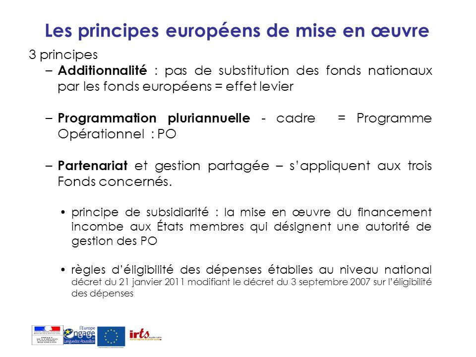Les principes européens de mise en œuvre