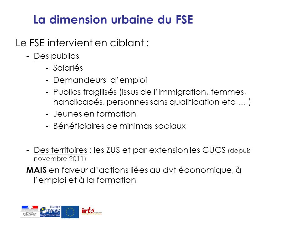 La dimension urbaine du FSE