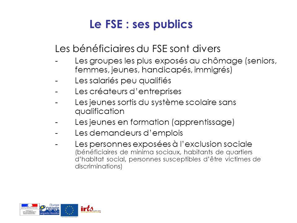 Le FSE : ses publics Les bénéficiaires du FSE sont divers