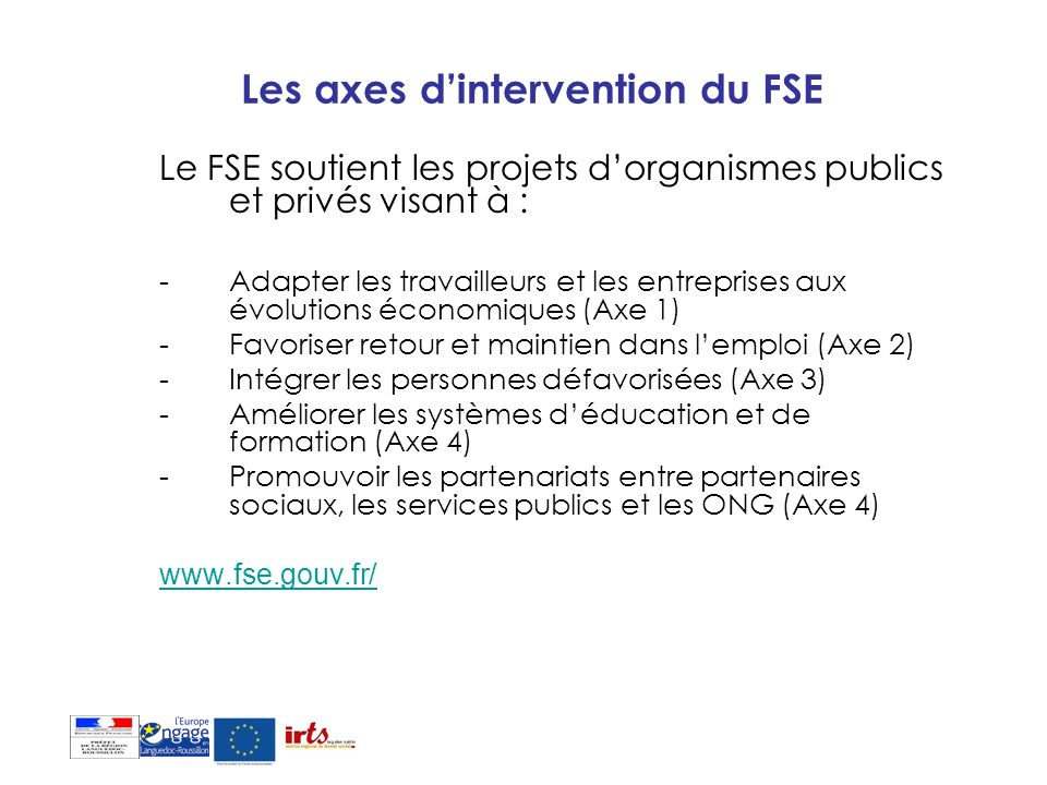 Les axes d'intervention du FSE