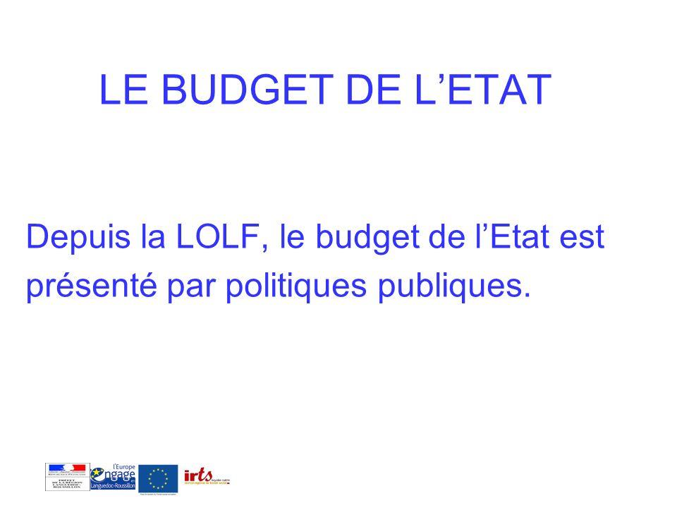 LE BUDGET DE L'ETAT Depuis la LOLF, le budget de l'Etat est