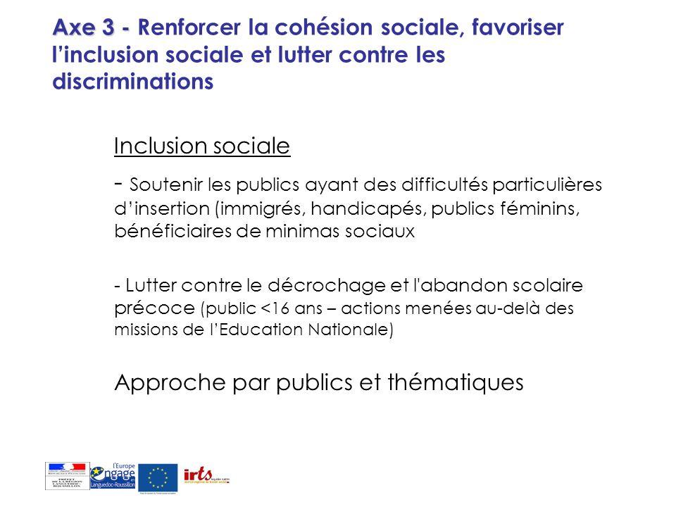 Axe 3 - Renforcer la cohésion sociale, favoriser l'inclusion sociale et lutter contre les discriminations