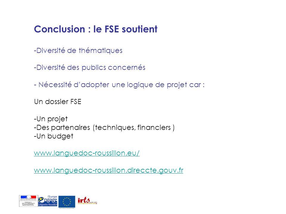 Conclusion : le FSE soutient