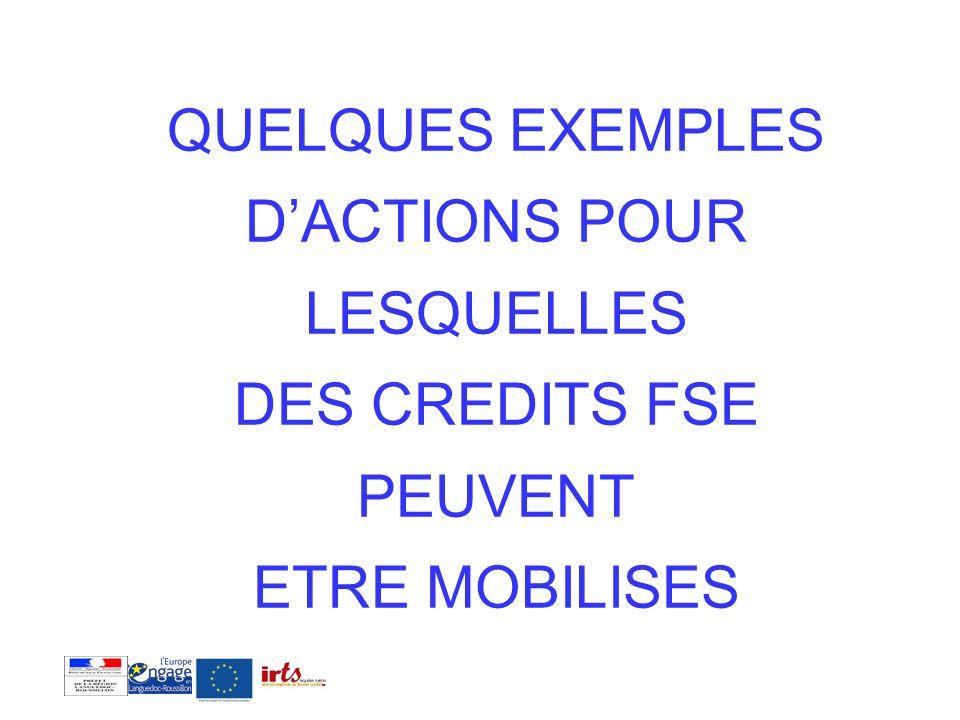 QUELQUES EXEMPLES D'ACTIONS POUR LESQUELLES DES CREDITS FSE PEUVENT ETRE MOBILISES