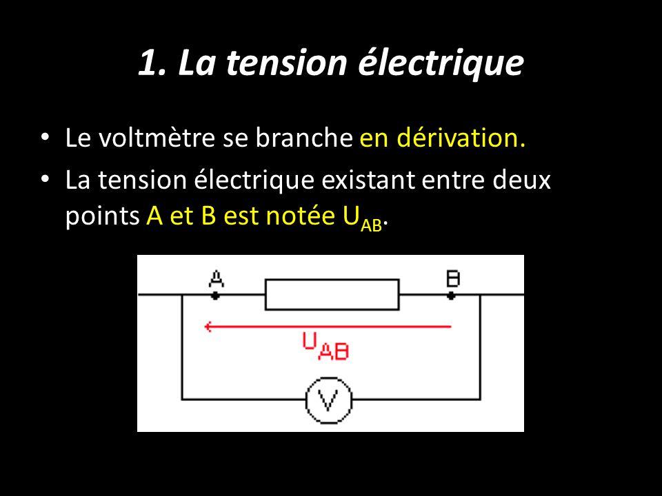 1. La tension électrique Le voltmètre se branche en dérivation.