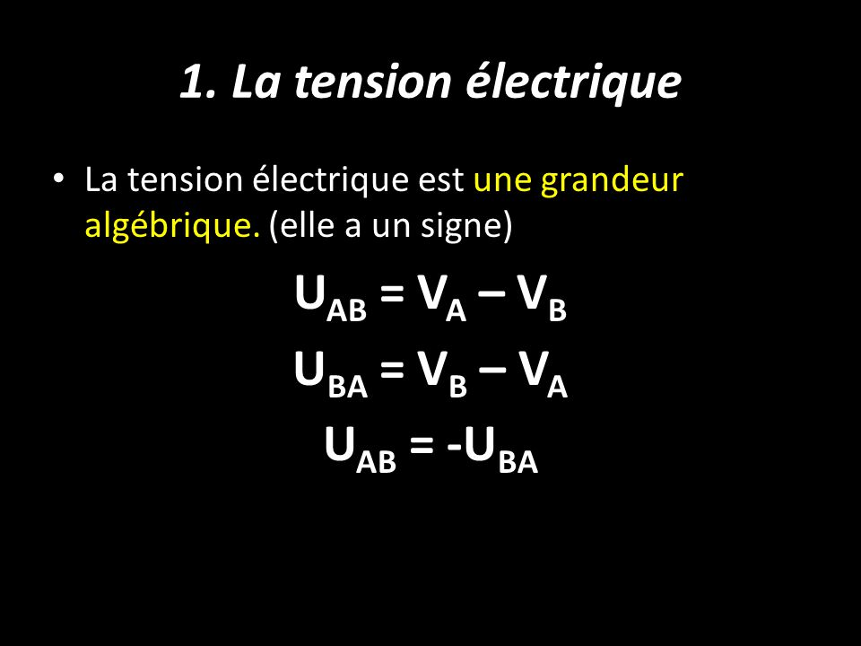 1. La tension électrique UAB = VA – VB UBA = VB – VA