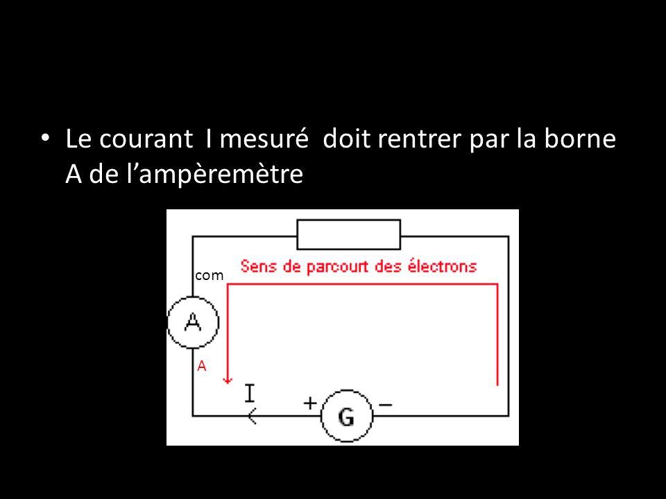 Le courant I mesuré doit rentrer par la borne A de l'ampèremètre