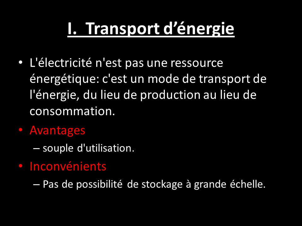 I. Transport d'énergie
