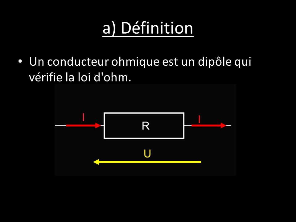 a) Définition Un conducteur ohmique est un dipôle qui vérifie la loi d ohm.
