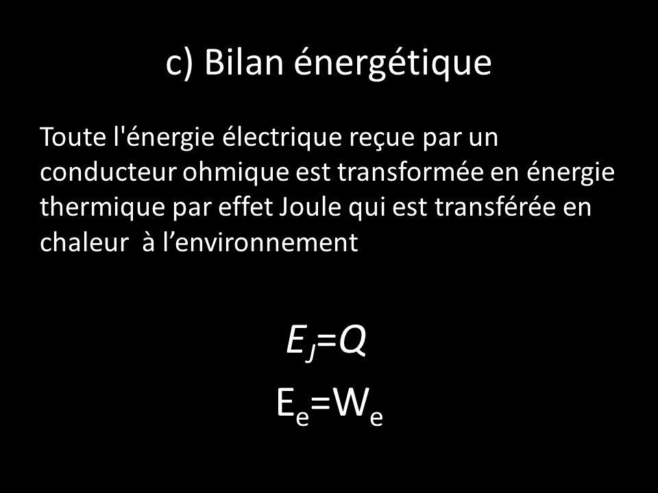 EJ=Q Ee=We c) Bilan énergétique