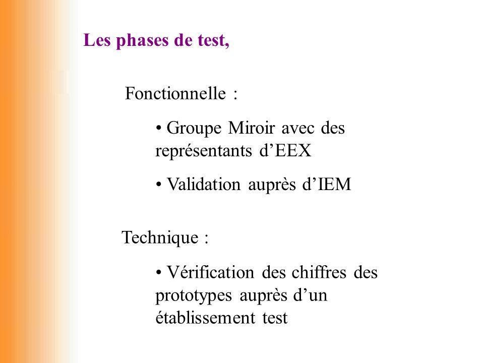 Les phases de test, Fonctionnelle : Groupe Miroir avec des représentants d'EEX. Validation auprès d'IEM.