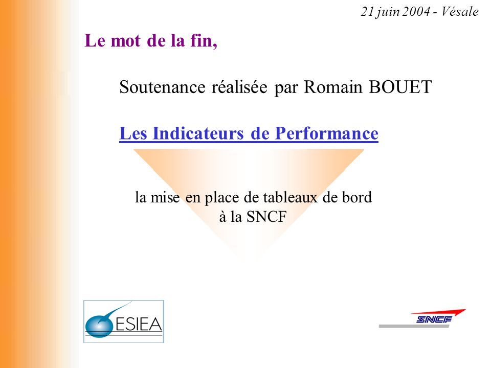 la mise en place de tableaux de bord à la SNCF