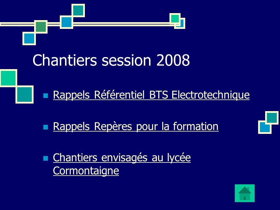 Chantiers session 2008 Rappels Référentiel BTS Electrotechnique