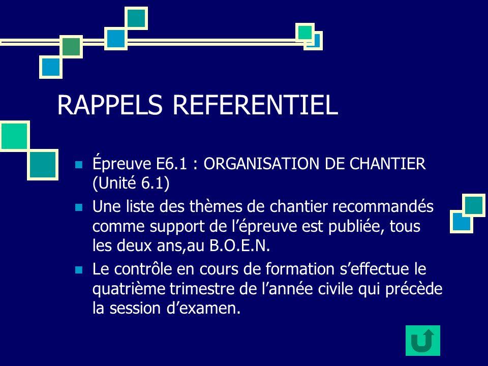 RAPPELS REFERENTIEL Épreuve E6.1 : ORGANISATION DE CHANTIER (Unité 6.1)
