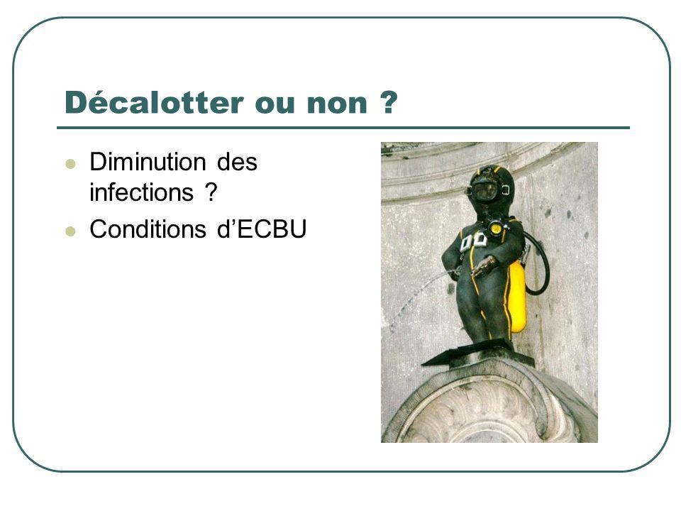 Décalotter ou non Diminution des infections Conditions d'ECBU