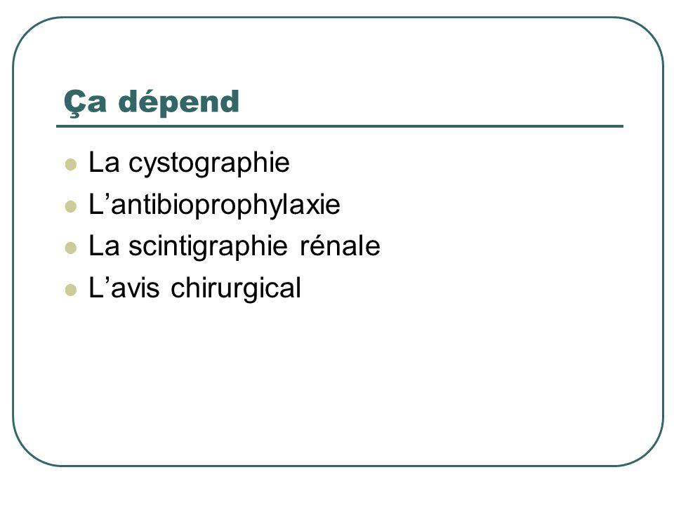 Ça dépend La cystographie L'antibioprophylaxie La scintigraphie rénale