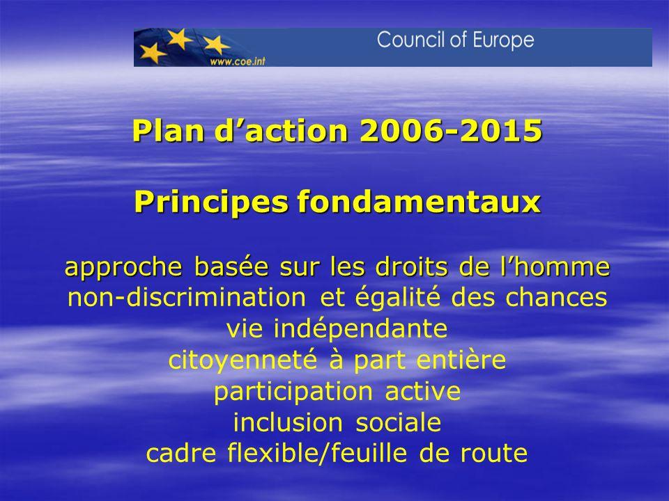 Plan d'action 2006-2015 Principes fondamentaux approche basée sur les droits de l'homme non-discrimination et égalité des chances vie indépendante citoyenneté à part entière participation active inclusion sociale cadre flexible/feuille de route